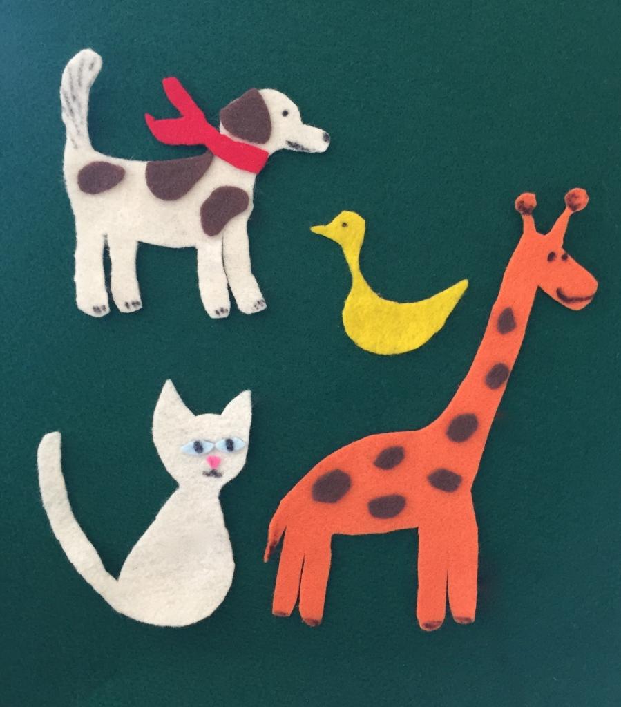Felt animals. Felt dog, felt cat, felt duck, felt giraffe