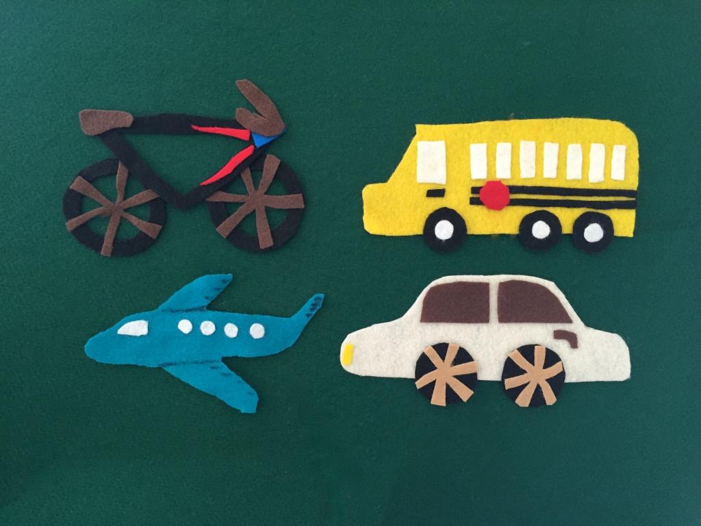 Felt vehicle ideas, felt bus, felt airplane, felt car, felt bike