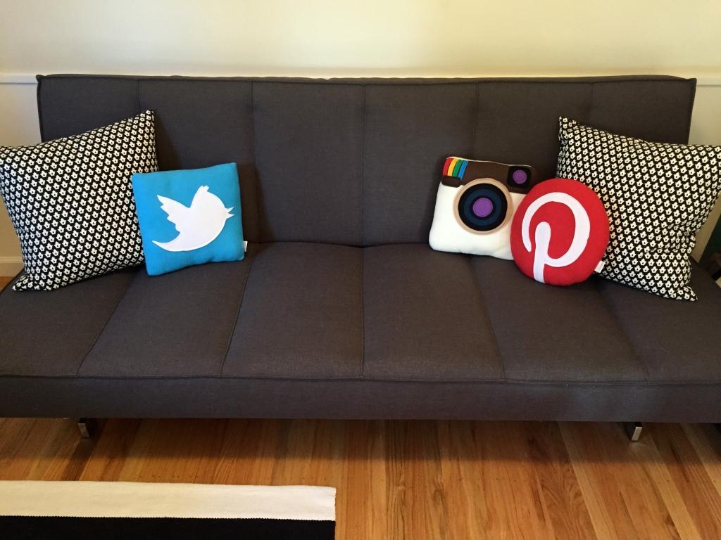 Social pillows: Twitter pillow, Instagram pillow, Pinterest pillow, Crate & Barrel futon