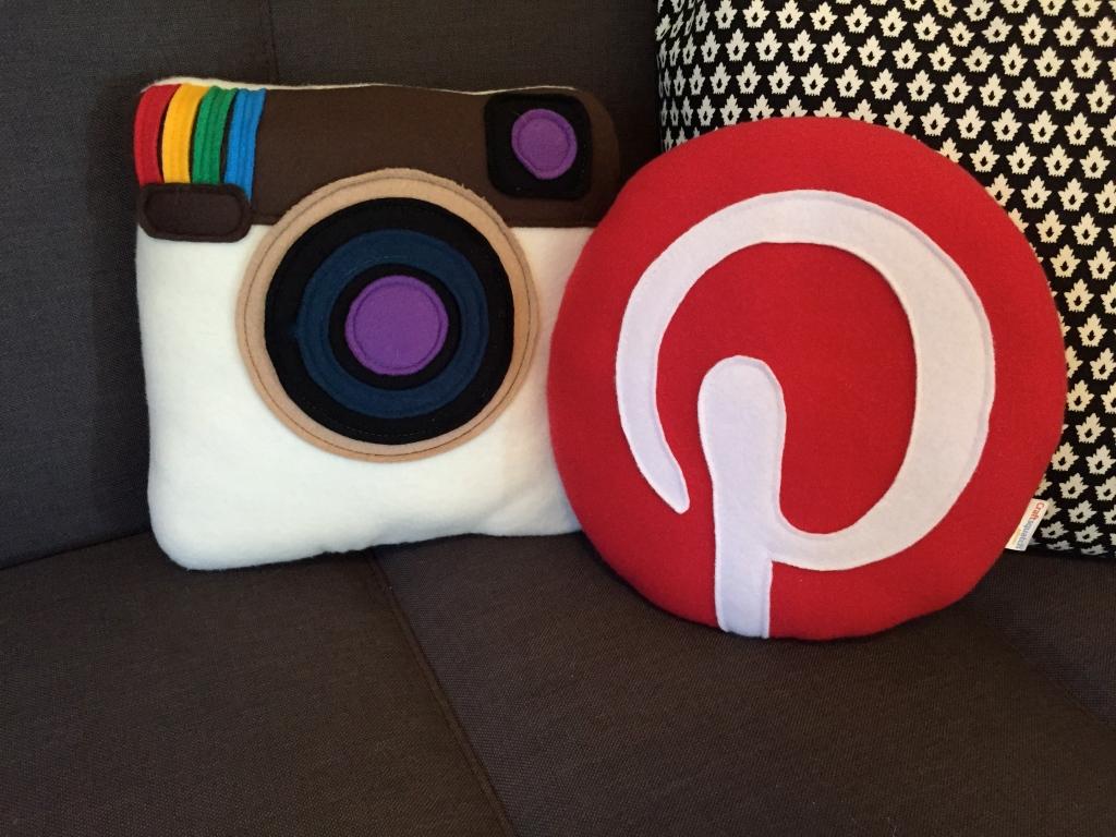 Instagram and Pinterest felt social pillows