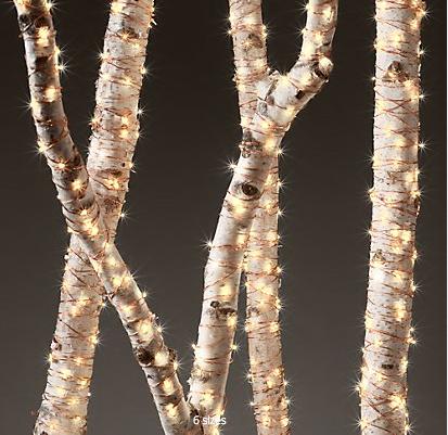 Restoration Hardware lights on trees