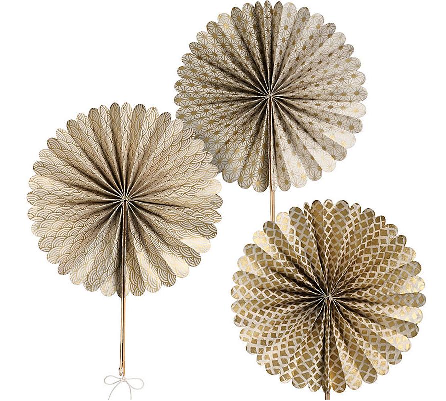 Metallic round paper fans
